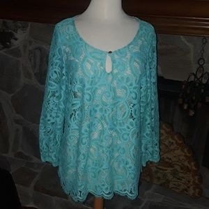 Lilly Pulitzer turquoise lace top sz xl
